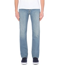 Armani Jeans Regular Fit Mid Rise Faded Jeans Light Blue