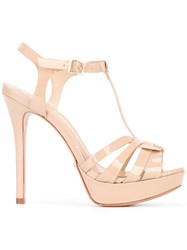 Schutz T Bar Heeled Sandals Nude Neutrals