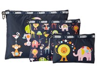 Lesportsac Luggage 3 Piece Travel Set Zoo Cute 3 Pack Pouch Travel Pouch Multi