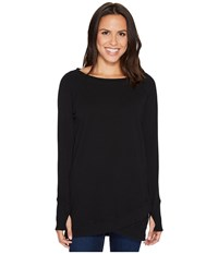 Mod O Doc Soft As Cashmere Cotton Interlock Crossover Front Raglan Tunic Black Women's Clothing