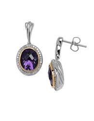 Lord And Taylor Amethyst Diamond 14K Yellow Gold Sterling Silver Earrings Silver Gold