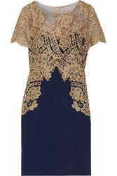 Marchesa Notte Metallic Embroidered Tulle And Stretch Silk Dress Navy Gold