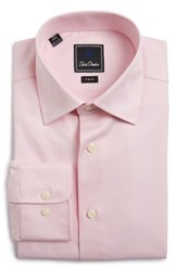 David Donahue Men's Big And Tall Trim Fit Houndstooth Dress Shirt Pink