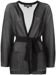 Salvatore Ferragamo Open Knit Tied Cardigan Black