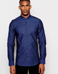 Vito Textured Shirt With Penny Collar In Slim Fit Blue