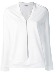 Brunello Cucinelli Glitter Stripe Detail Sweatshirt White