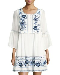 French Connection Sunshine Bloom Long Sleeve Gypsy Dress White Blue