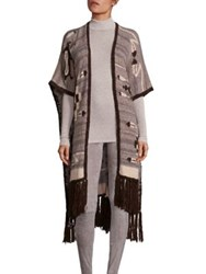 Polo Ralph Lauren Fringe Hem Open Front Cardigan Grey Multi