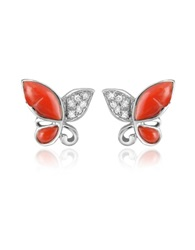 Del Gatto Diamond Gemstone Butterfly 18K Gold Earrings Red Coral
