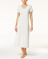 Charter Club Contrast Trimmed Knit Nightgown Only At Macy's Grey Heather
