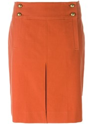 Tory Burch Buttoned Mini Skirt Yellow And Orange