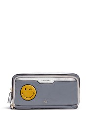 Anya Hindmarch 'Wink' Small Leather Smiley Reflective Nylon Zip Pouch Grey