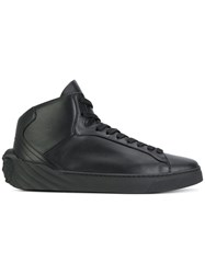 Versace Hi Top Sneakers Leather Rubber Black