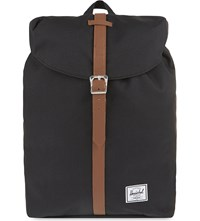 Herschel Post Backpack Black Tan Syn Leather