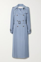 Valentino Pleated Silk Crepe Trench Coat Blue