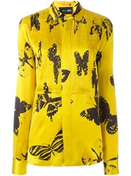 Michel Klein 'Butterfly' Print Shirt Yellow Orange
