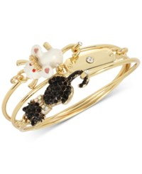 Betsey Johnson Gold Tone 3 Pc. Set Cat And Mouse Wire Bangle Bracelets