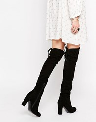 Carvela Pace Over The Knee Boots Black Suedette