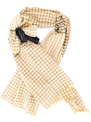 Forte Forte Checked Bow Scarf Yellow And Orange