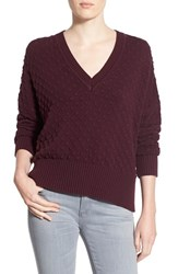 Women's 1.State Bubble Stitch V Neck Sweater Cherry Wood
