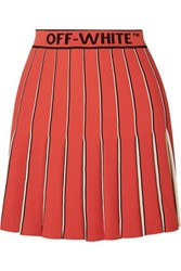 Off White Pleated Knitted Mini Skirt Red