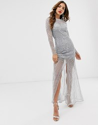 Frock And Frill Long Sleeve High Embellished Maxi Dress Grey