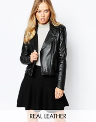 Y.A.S Lucy Leather Jacket Black