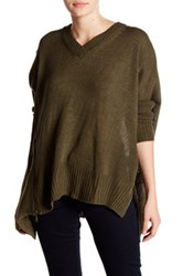 Romeo And Juliet Couture Asymmetrical V Neck Sweater Green