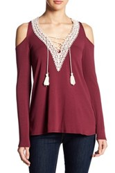 Peach Love Cream V Neck Cold Shoulder Tassel Shirt Red