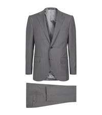 Corneliani Pure Wool Birdseye Suit Male Grey