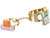 Guess Multiple Geometric Stone Midi To Regular Ring Gold Coral Mint Ring
