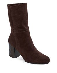 Eileen Fisher Cinch Mid Calf Suede Boots Chocolate