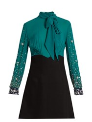 Miu Miu Embellished Sleeve Silk And Cady Mini Dress Black Green