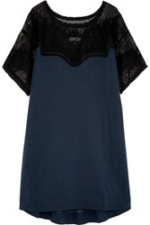 The Great Bloomer Crochet Paneled Cotton Mini Dress Midnight Blue