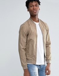 Pull And Bear Pullandbear Faux Suede Bomber Jacket In Beige Beige