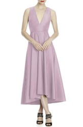 Lela Rose Bridesmaid Women's Mikado High Low Midi Gown Suede Rose