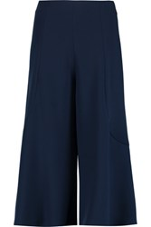 Iris And Ink Bell Stretch Cady Culottes Navy