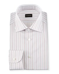 Ermenegildo Zegna Multi Stripe Woven Dress Shirt Open White Pattern