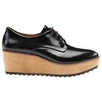 Whistles Ko Wood Wedge Derby Shoes Black Leather