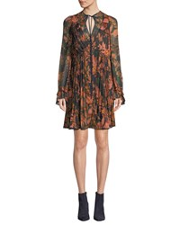 Coach Forest Floral Print Pleated Long Sleeve Dress Green Pattern