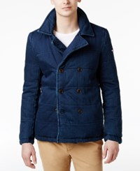 Tommy Hilfiger Men's Quilted Double Breasted Cotton Denim Coat Clean Doub