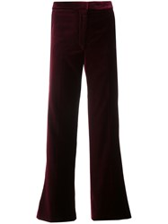 Stella Mccartney High Waisted Cropped Trousers Silk Polyester Red