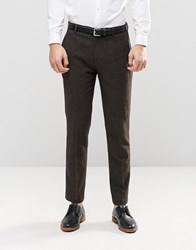 Asos Slim Suit Trousers With Waistband Detail In Tweed Khaki Green