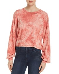 Honey Punch Tie Dye Ruched Sleeve Tee 100 Exclusive Red