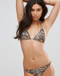 Motel Leopard Triangle Bikini Top Brown Tiger Multi