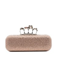 Alexander Mcqueen Pink Crystal Embellished Four Ring Suede Clutch