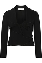 Valentino Ruffled Stretch Jersey Blazer Black