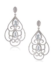 Carolee The Cloisters Clear Crystal Openwork Clip On Earrings Silver