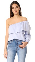 Maven West One Shoulder Ruffle Top Chambray
