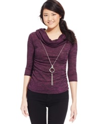 Amy Byer Bcx Juniors' Marled Cowl Neck Necklace Sweater Med Purple
